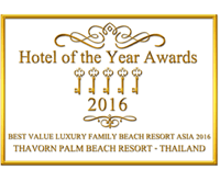 Award Thavorn Palm Beach Best Value Luxury Family Beach Resort Asia 2016